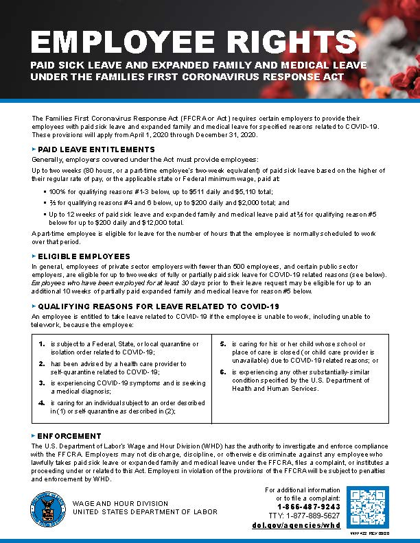 Employee Rights - FFCRA Workplace Poster